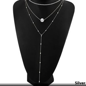 SILVER 3 PIECE LAYERED NECKLACE SET